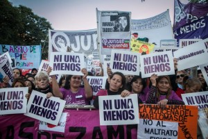 Demonstrators in Buenos Aires, at the rally #Ni una menos. JUNE 3RD 2015 Credit: Courtesy of Ni Una Menos.