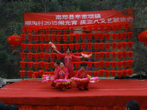 Liu Juan and the women of the village dancing at the Lantern Festival party. Photo by by Liu Zhiqiang/ Shaanxi Mothers' Environmental Protection Association