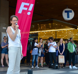 Party leader Gudrun Schyman, Feminist Initiative, holding squares meeting at Sergel's Square in Stockholm for the European elections in May 2014.