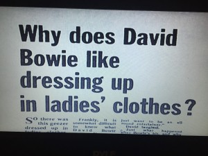 A scandalous British newspaper headline questioning Bowie's attire