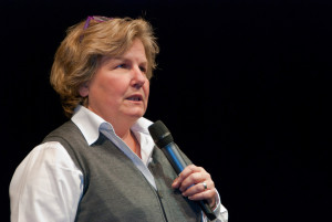 Sandi Toksvig at BBC Radio 4's News Quiz recording at the University of Bedfordshire
