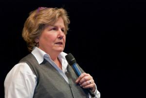 Sandi Toksvig at BBC Radio 4's News Quiz recording at the University of Bedfordshire