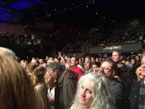 The crowd of the Holy Holy Bowie tribute concert in Huntington, Long Island, led by Bowie producer/Tony Visconti and original Ziggy/Spiders From Mars drummer Mick Woodmansey, about a week after Bowie died