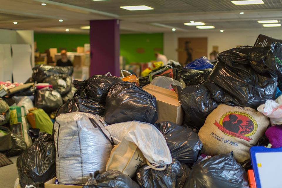 Donations pile up at the DRS Headquarters at Swan House, Dundee.