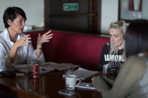 DRS members Jayne Kelly (left) and Sammi Craig (right) discuss plans at the group's first official meeting.