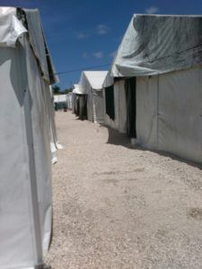 people housed at the detention center live in plastic tents, with little ventilation, privacy or comfort. Photo credit: Supply