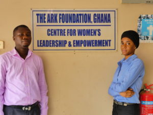 Rex Alex Delanyo, finance and administrative co-ordinator, and project volunteer Fatahiya Sumaila. Photo credit: Elliot Smith
