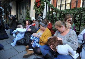 Free to Feed campaigners breastfeed their children outside Claridge's hotel, in Mayfair, central London, to demonstrate in support of public breastfeeding, after mother-of-three Louise Burns complained that the luxury hotel asked her to put a napkin over her baby's head, whilst she was breastfeeding her baby in the hotel's restaurant.