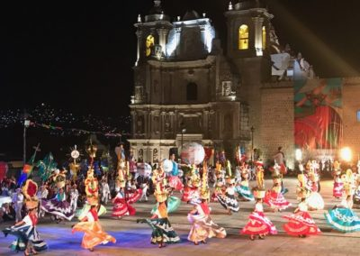 At the finale of the festival, indigenous groups Chinas Oaxacañas, Jarabe Mixteco, and Danzantes de la Pluma perform traditional dances celebrating the entire previous week of festivities.