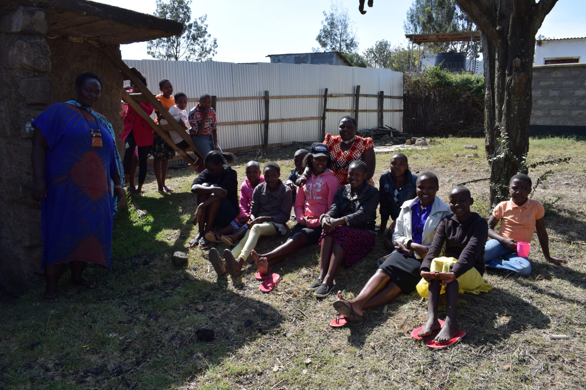 Ms Pareiyo with some of the girls at the rescue centre
