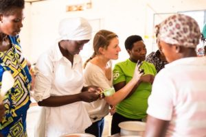 Remera Training - TWB Director of Impact, Meg, runs a baking lesson during the training of our first Rwanda cohort in 2015.