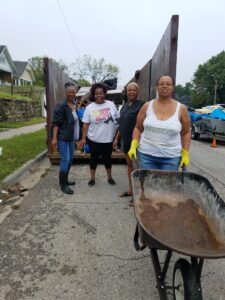 Some constituents and Yolanda Young at a block clean up.